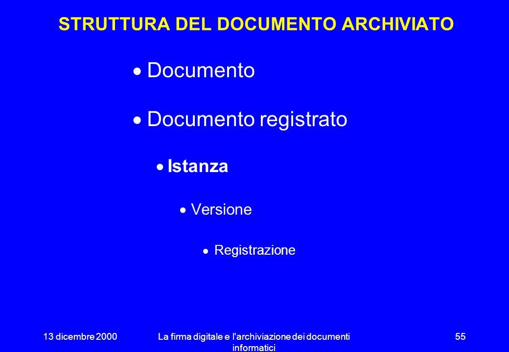 13 dicembre 2000La firma digitale e l'archiviazione dei documenti informatici 54 FIRMA DIGITALE ED ARCHIVIAZIONE SOSTITUTIVA Assicura autenticità ed i