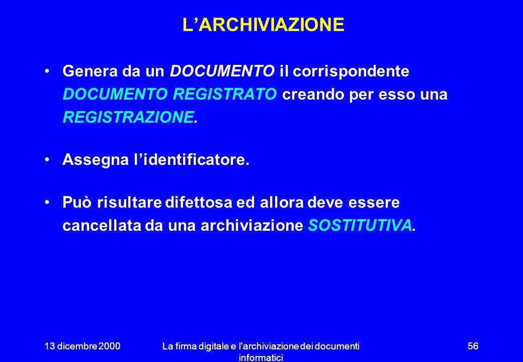 13 dicembre 2000La firma digitale e l archiviazione dei documenti informatici 55 STRUTTURA DEL DOCUMENTO ARCHIVIATO Documento Documento registrato Istanza Versione Registrazione