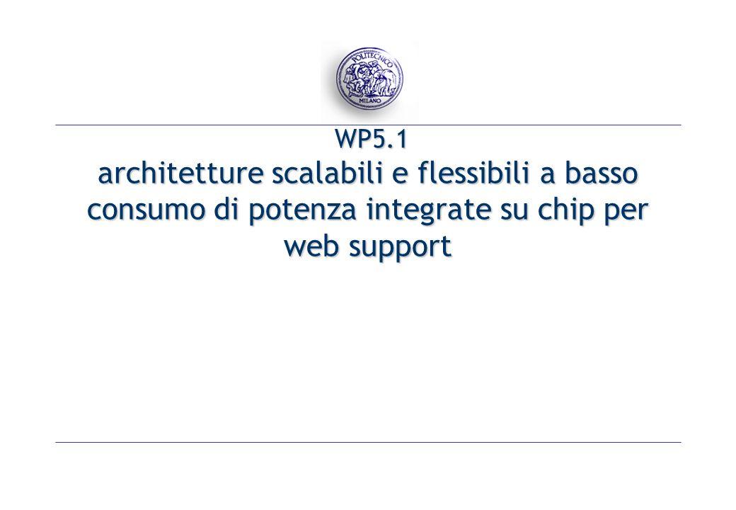 WP5.1 architetture scalabili e flessibili a basso consumo di potenza integrate su chip per web support WP5.1 architetture scalabili e flessibili a basso consumo di potenza integrate su chip per web support