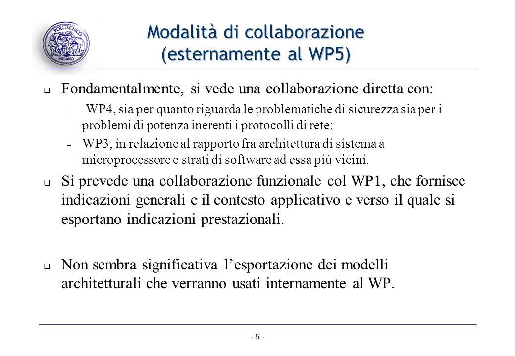 - 5 - Modalità di collaborazione (esternamente al WP5) Fondamentalmente, si vede una collaborazione diretta con: – WP4, sia per quanto riguarda le problematiche di sicurezza sia per i problemi di potenza inerenti i protocolli di rete; – WP3, in relazione al rapporto fra architettura di sistema a microprocessore e strati di software ad essa più vicini.