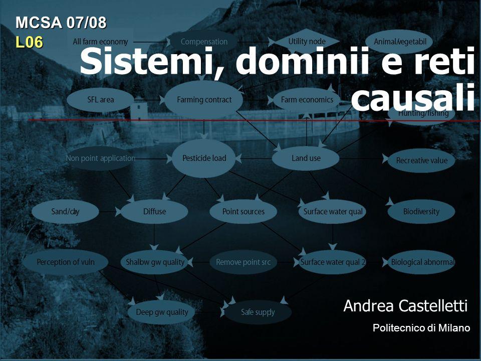 Sistemi, dominii e reti causali Andrea Castelletti Politecnico di Milano MCSA 07/08 L06