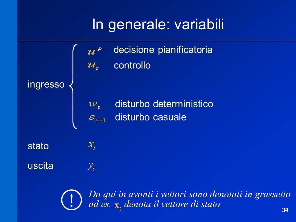 34 In generale: variabili stato controllo decisione pianificatoria disturbo deterministico disturbo casuale Da qui in avanti i vettori sono denotati i