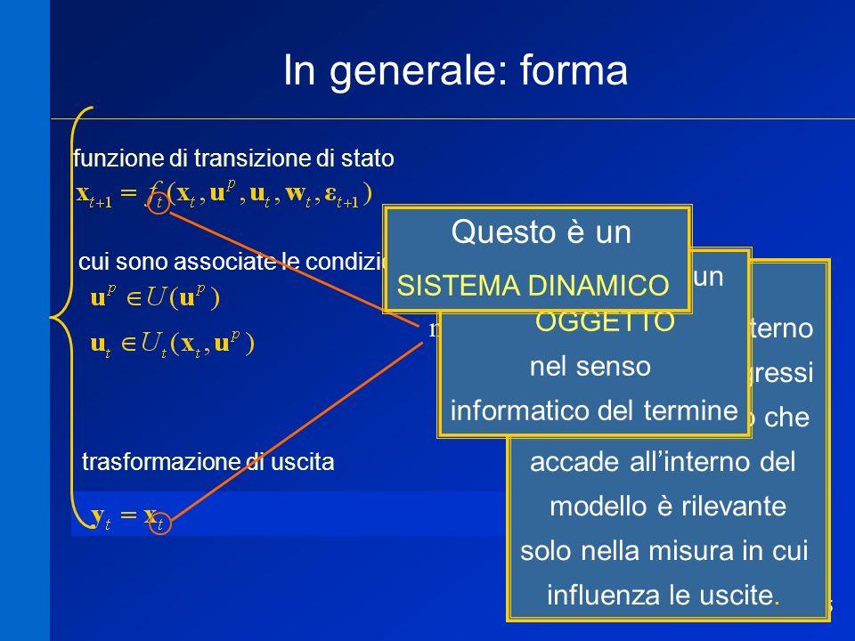 35 In generale: forma trasformazione di uscita funzione di transizione di stato cui sono associate le condizioni modello proprio modello improprio mod