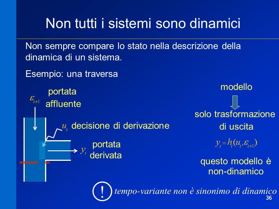 36 Non tutti i sistemi sono dinamici Non sempre compare lo stato nella descrizione della dinamica di un sistema. Esempio: una traversa portata affluen