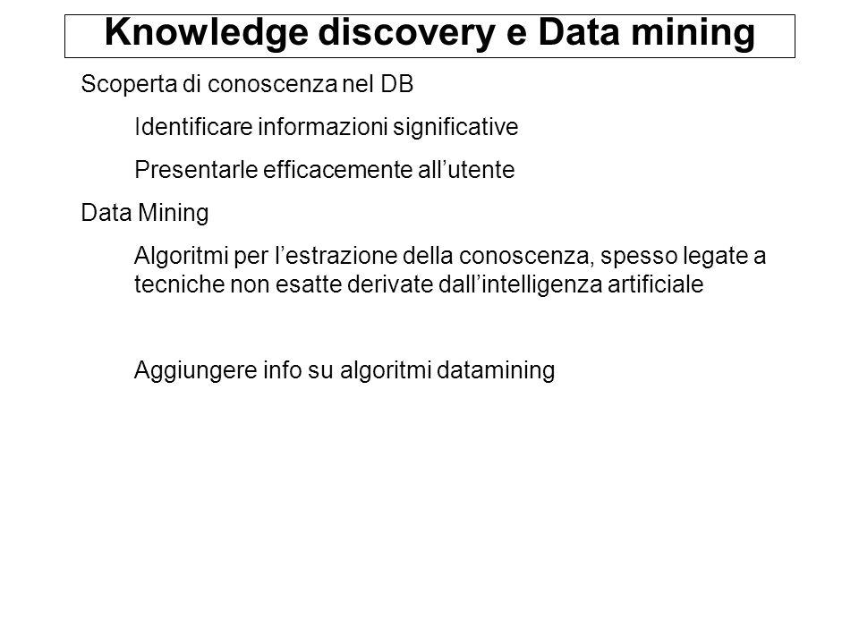 Knowledge discovery e Data mining Scoperta di conoscenza nel DB Identificare informazioni significative Presentarle efficacemente allutente Data Mining Algoritmi per lestrazione della conoscenza, spesso legate a tecniche non esatte derivate dallintelligenza artificiale Aggiungere info su algoritmi datamining