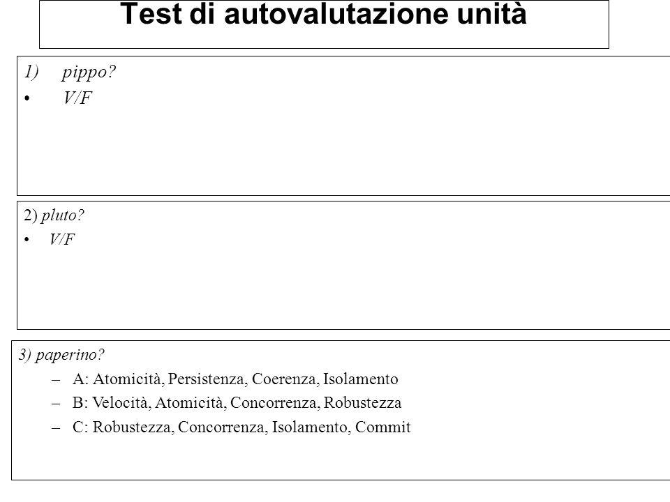 Test di autovalutazione unità 1)pippo.V/F 2) pluto.