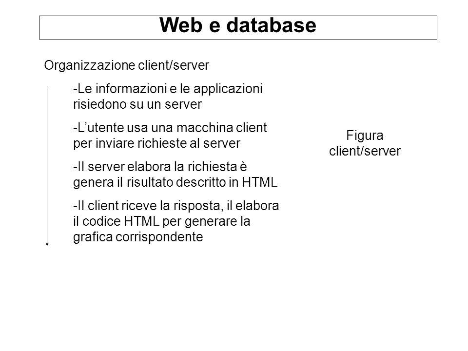 Web e database Organizzazione client/server -Le informazioni e le applicazioni risiedono su un server -Lutente usa una macchina client per inviare richieste al server -Il server elabora la richiesta è genera il risultato descritto in HTML -Il client riceve la risposta, il elabora il codice HTML per generare la grafica corrispondente Figura client/server