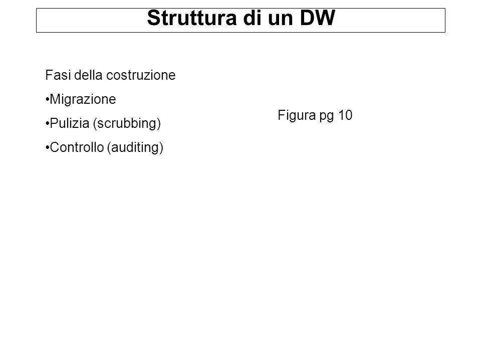 Struttura di un DW Figura pg 10 Fasi della costruzione Migrazione Pulizia (scrubbing) Controllo (auditing)