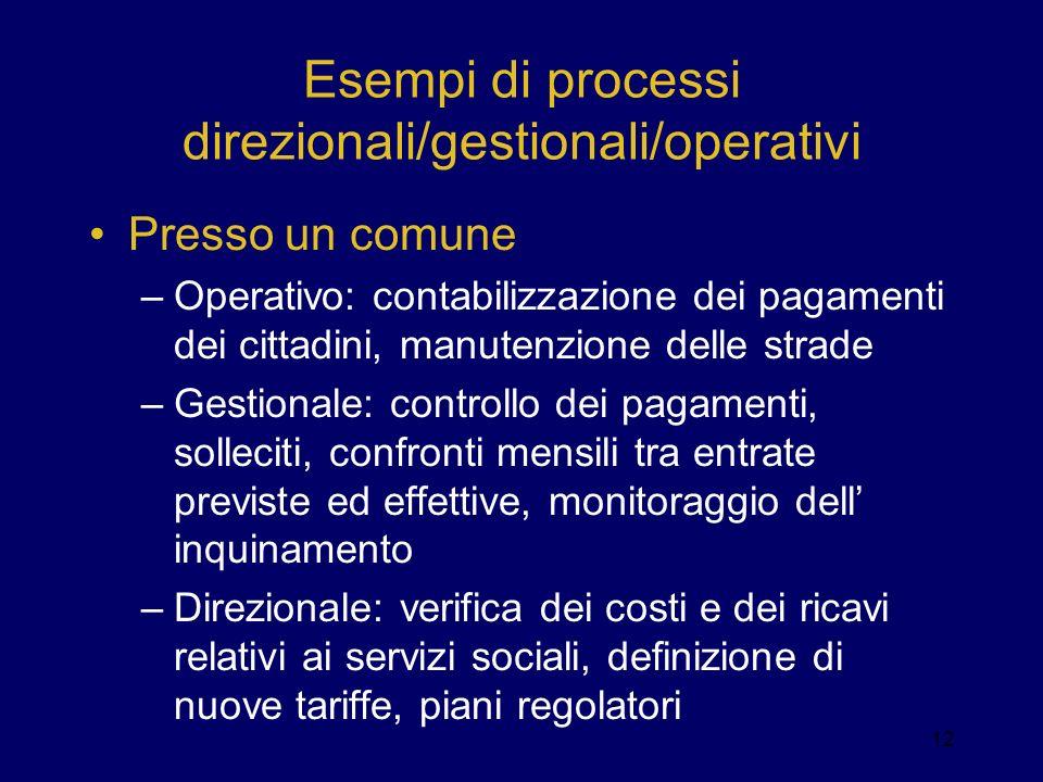 Esempi di processi direzionali/gestionali/operativi Presso un comune –Operativo: contabilizzazione dei pagamenti dei cittadini, manutenzione delle str