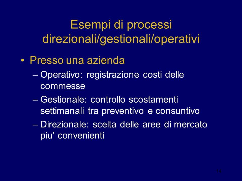 Esempi di processi direzionali/gestionali/operativi Presso una azienda –Operativo: registrazione costi delle commesse –Gestionale: controllo scostamen