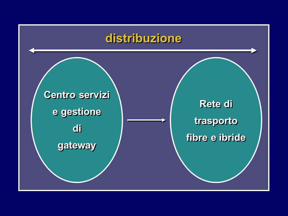 distribuzione Centro servizi e gestione di gateway Rete di trasporto fibre e ibride