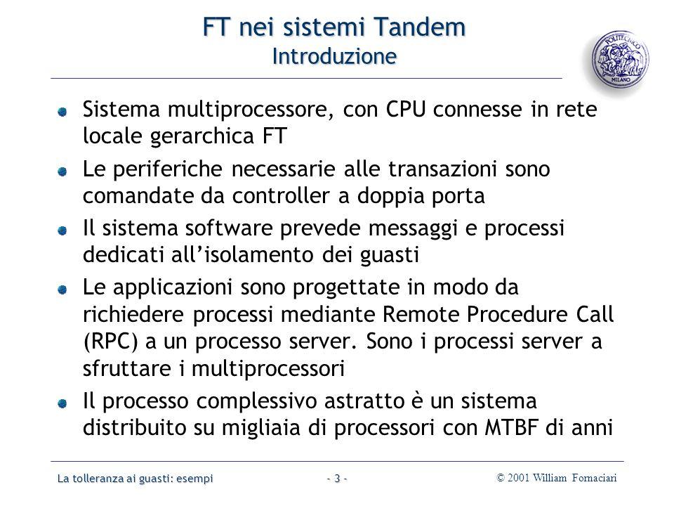 La tolleranza ai guasti: esempi© 2001 William Fornaciari- 44 - Memoria transazionale stabile Esempio STM nel sistema operativo FT Multiprocessor (FTM) ideato da Banâtre, nel 1991.