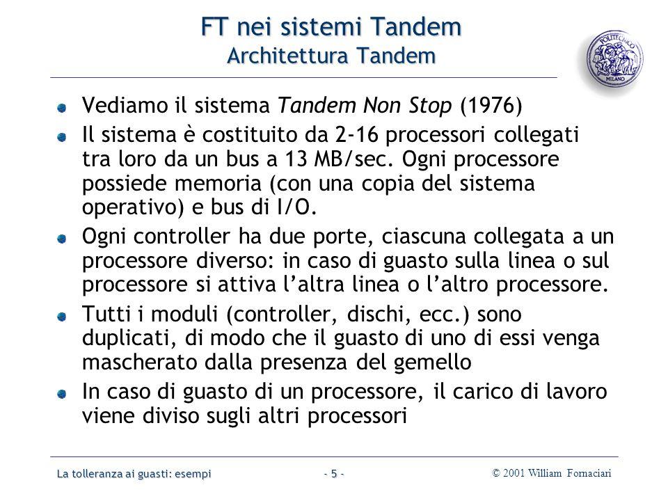 La tolleranza ai guasti: esempi© 2001 William Fornaciari- 66 - Dischi RAID Schemi RAID 0: nessuna ridondanza.