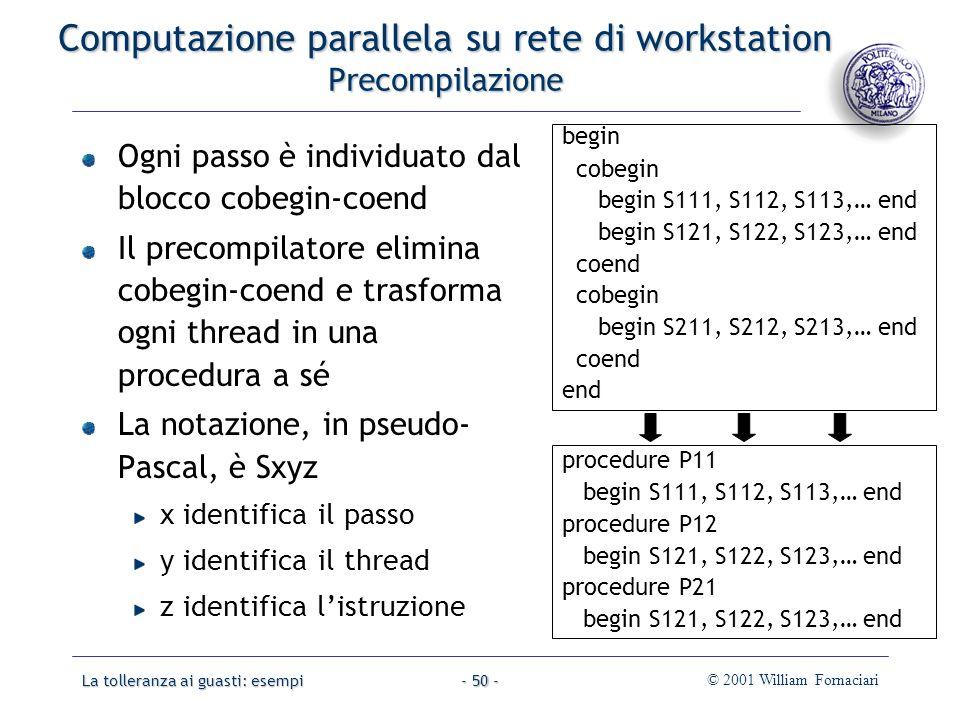 La tolleranza ai guasti: esempi© 2001 William Fornaciari- 50 - Computazione parallela su rete di workstation Precompilazione Ogni passo è individuato