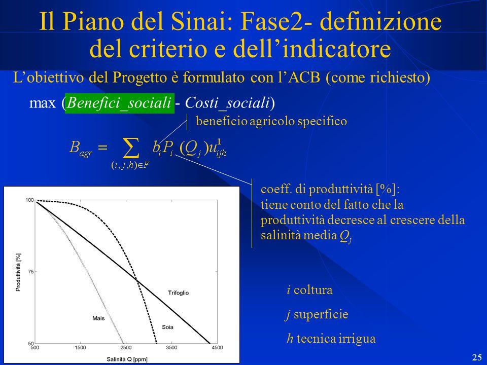 25 Il Piano del Sinai: Fase2- definizione del criterio e dellindicatore Lobiettivo del Progetto è formulato con lACB (come richiesto) max (Benefici_sociali - Costi_sociali) beneficio agricolo specifico coeff.