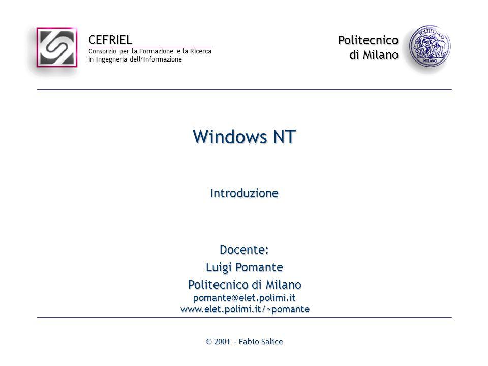 CEFRIEL Consorzio per la Formazione e la Ricerca in Ingegneria dellInformazione Politecnico di Milano © 2001 - Fabio Salice Windows NT Introduzione Do