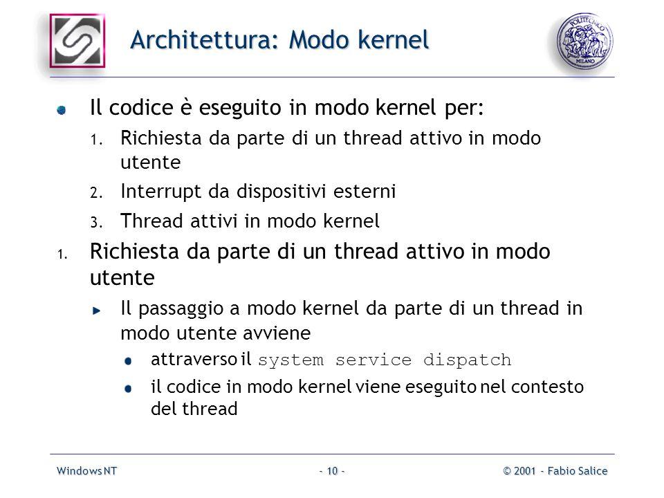 Windows NT© 2001 - Fabio Salice- 10 - Architettura: Modo kernel Il codice è eseguito in modo kernel per: 1. Richiesta da parte di un thread attivo in