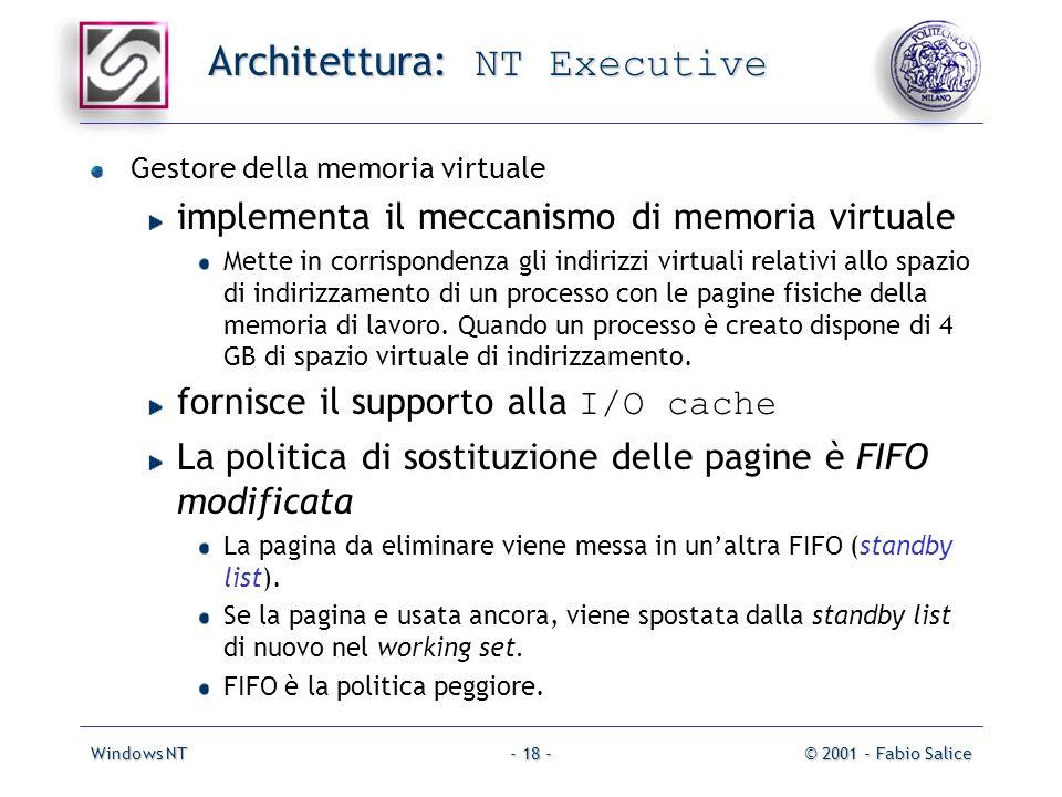 Windows NT© 2001 - Fabio Salice- 18 - Architettura: NT Executive Gestore della memoria virtuale implementa il meccanismo di memoria virtuale Mette in corrispondenza gli indirizzi virtuali relativi allo spazio di indirizzamento di un processo con le pagine fisiche della memoria di lavoro.