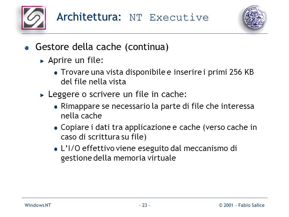 Windows NT© 2001 - Fabio Salice- 23 - Architettura: NT Executive Gestore della cache (continua) Aprire un file: Trovare una vista disponibile e inseri