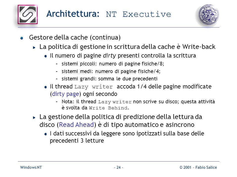 Windows NT© 2001 - Fabio Salice- 24 - Architettura: NT Executive Gestore della cache (continua) La politica di gestione in scrittura della cache è Wri