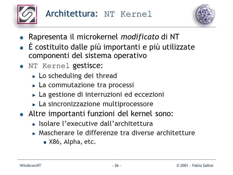 Windows NT© 2001 - Fabio Salice- 26 - Architettura: NT Kernel Rapresenta il microkernel modificato di NT È costituito dalle più importanti e più utili