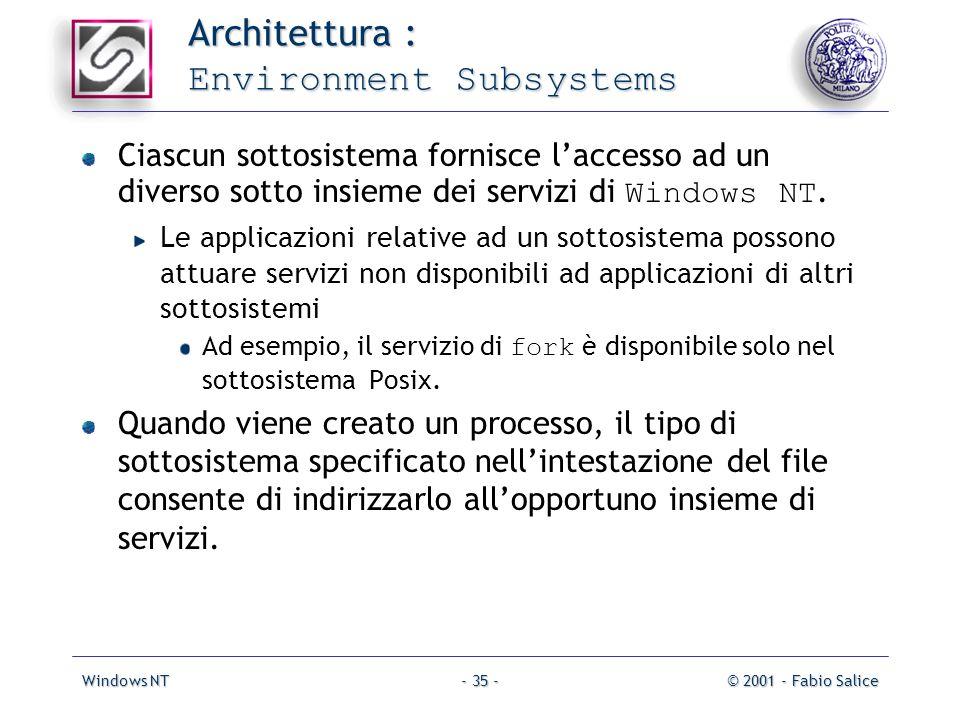 Windows NT© 2001 - Fabio Salice- 35 - Architettura : Environment Subsystems Ciascun sottosistema fornisce laccesso ad un diverso sotto insieme dei servizi di Windows NT.