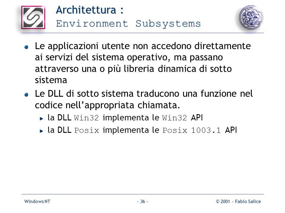 Windows NT© 2001 - Fabio Salice- 36 - Architettura : Environment Subsystems Le applicazioni utente non accedono direttamente ai servizi del sistema op