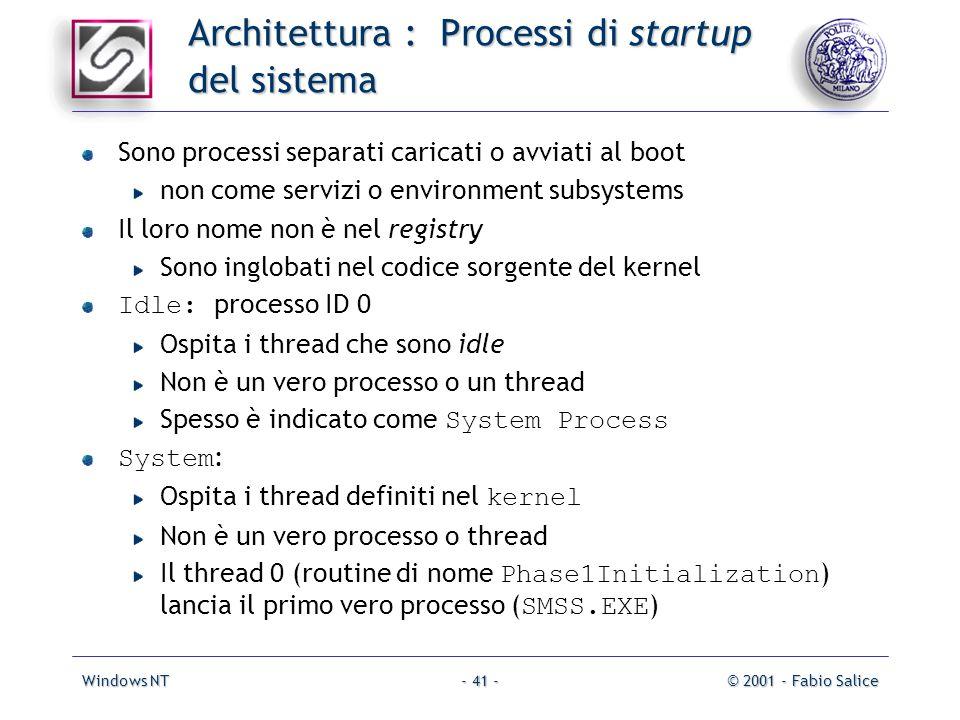 Windows NT© 2001 - Fabio Salice- 41 - Architettura : Processi di startup del sistema Sono processi separati caricati o avviati al boot non come serviz
