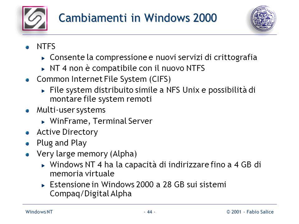 Windows NT© 2001 - Fabio Salice- 44 - Cambiamenti in Windows 2000 NTFS Consente la compressione e nuovi servizi di crittografia NT 4 non è compatibile