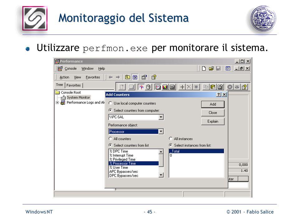 Windows NT© 2001 - Fabio Salice- 45 - Monitoraggio del Sistema Utilizzare perfmon.exe per monitorare il sistema.