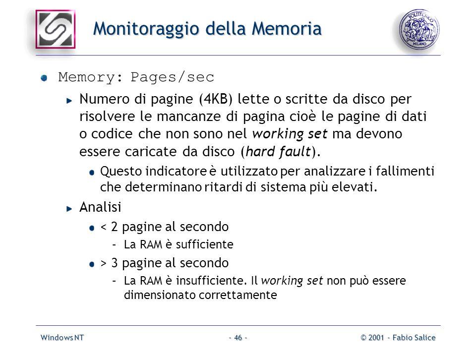 Windows NT© 2001 - Fabio Salice- 46 - Monitoraggio della Memoria Memory: Pages/sec Numero di pagine (4KB) lette o scritte da disco per risolvere le mancanze di pagina cioè le pagine di dati o codice che non sono nel working set ma devono essere caricate da disco (hard fault).