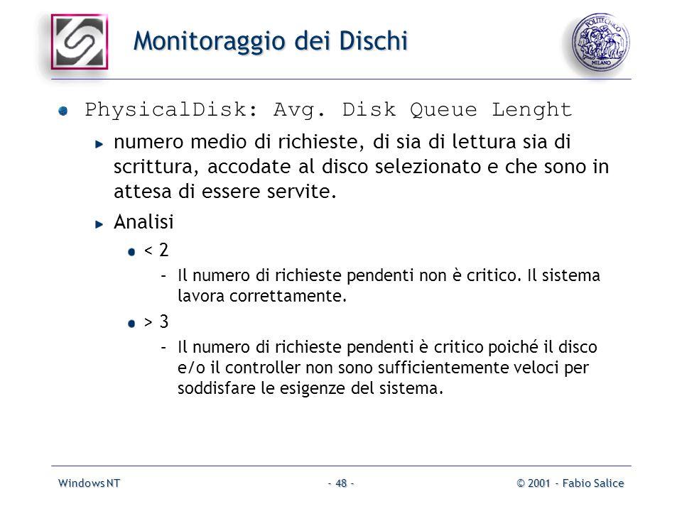 Windows NT© 2001 - Fabio Salice- 48 - Monitoraggio dei Dischi PhysicalDisk: Avg. Disk Queue Lenght numero medio di richieste, di sia di lettura sia di