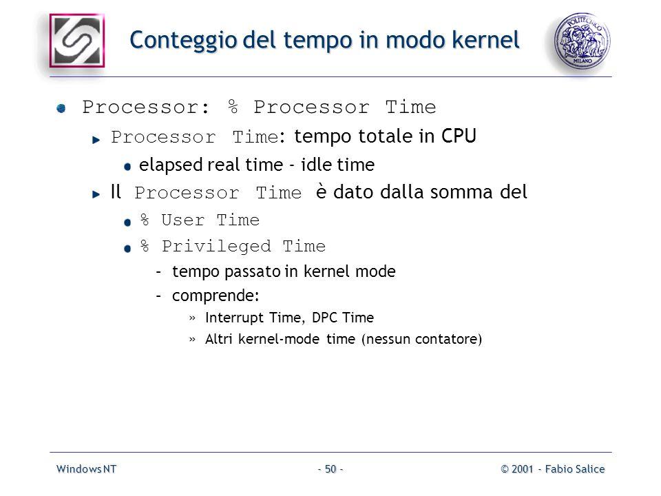 Windows NT© 2001 - Fabio Salice- 50 - Conteggio del tempo in modo kernel Processor: % Processor Time Processor Time : tempo totale in CPU elapsed real