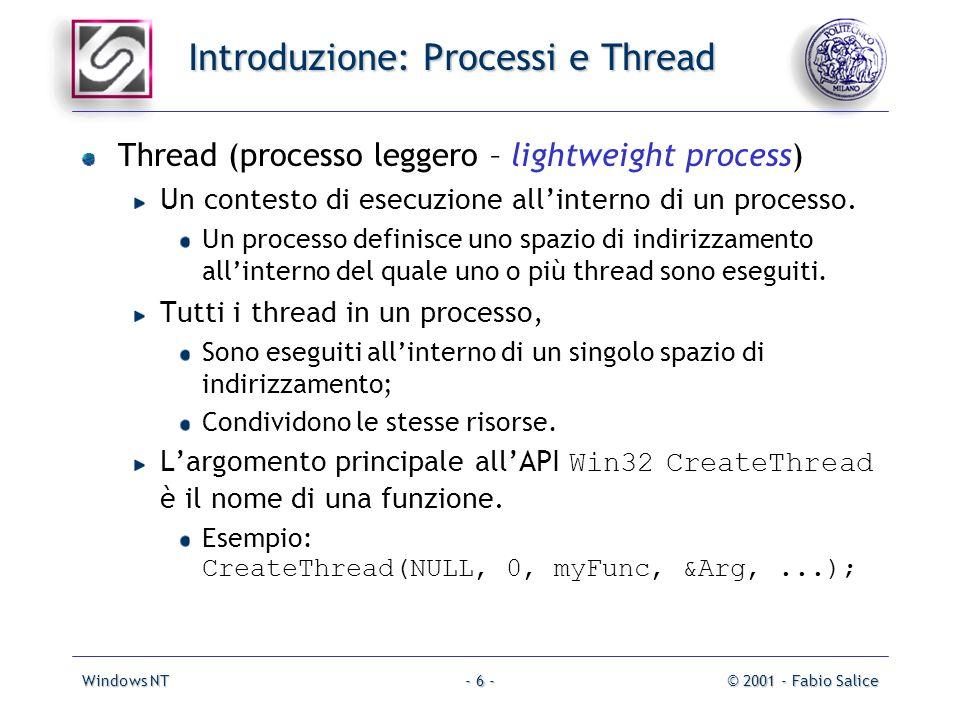 Windows NT© 2001 - Fabio Salice- 6 - Introduzione: Processi e Thread Thread (processo leggero – lightweight process) Un contesto di esecuzione allinterno di un processo.