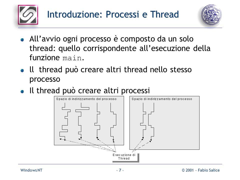 Windows NT© 2001 - Fabio Salice- 7 - Introduzione: Processi e Thread Allavvio ogni processo è composto da un solo thread: quello corrispondente allesecuzione della funzione main.