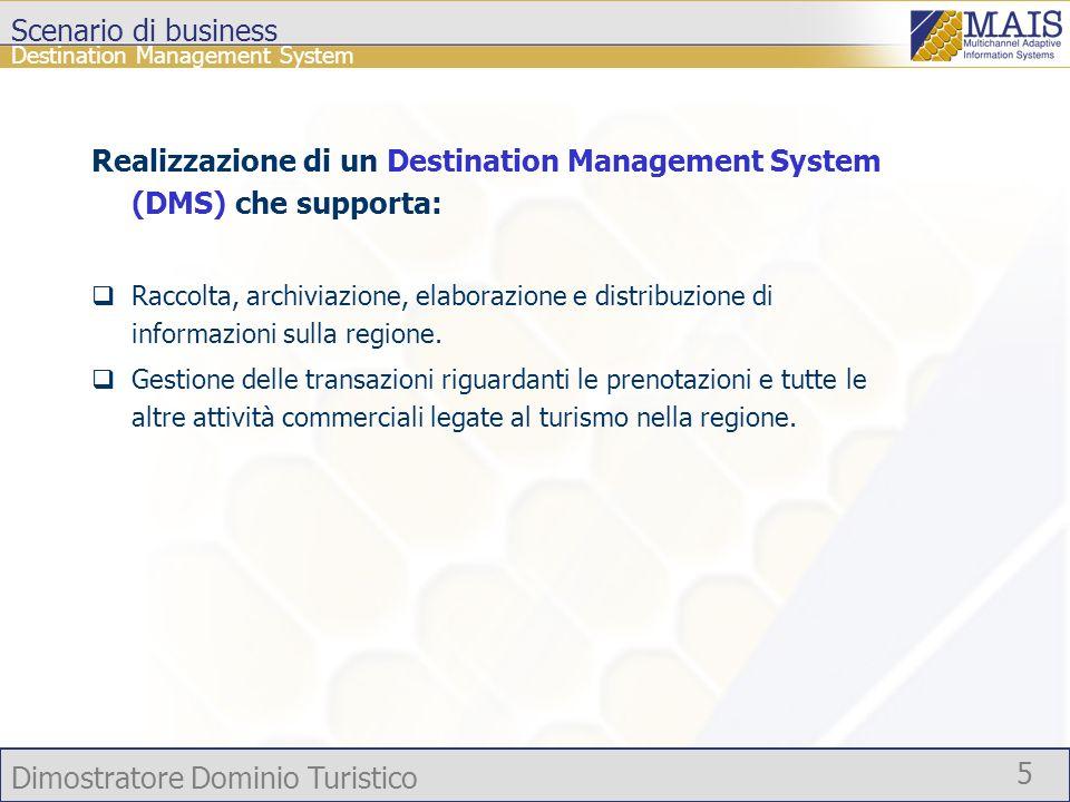 Dimostratore Dominio Turistico 5 Scenario di business Realizzazione di un Destination Management System (DMS) che supporta: Raccolta, archiviazione, e