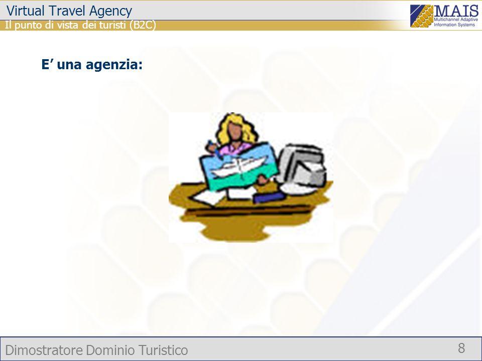 Dimostratore Dominio Turistico 8 Virtual Travel Agency Il punto di vista dei turisti (B2C) E una agenzia: