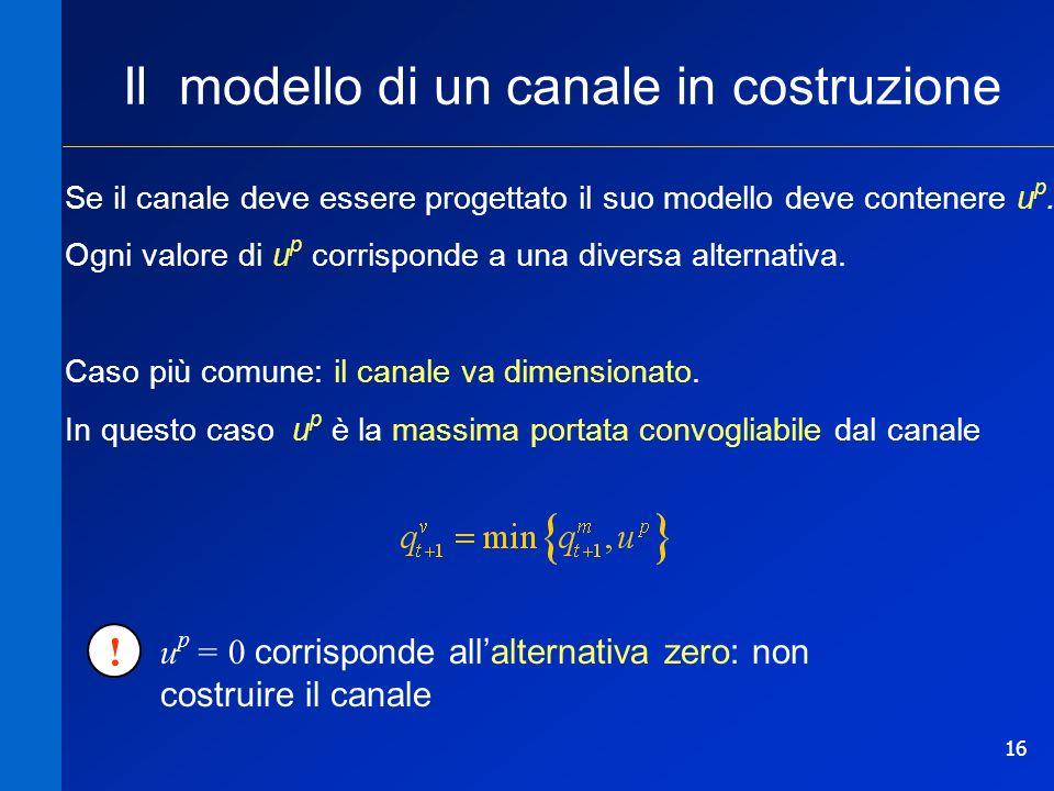 16 Il modello di un canale in costruzione Se il canale deve essere progettato il suo modello deve contenere u p. Ogni valore di u p corrisponde a una