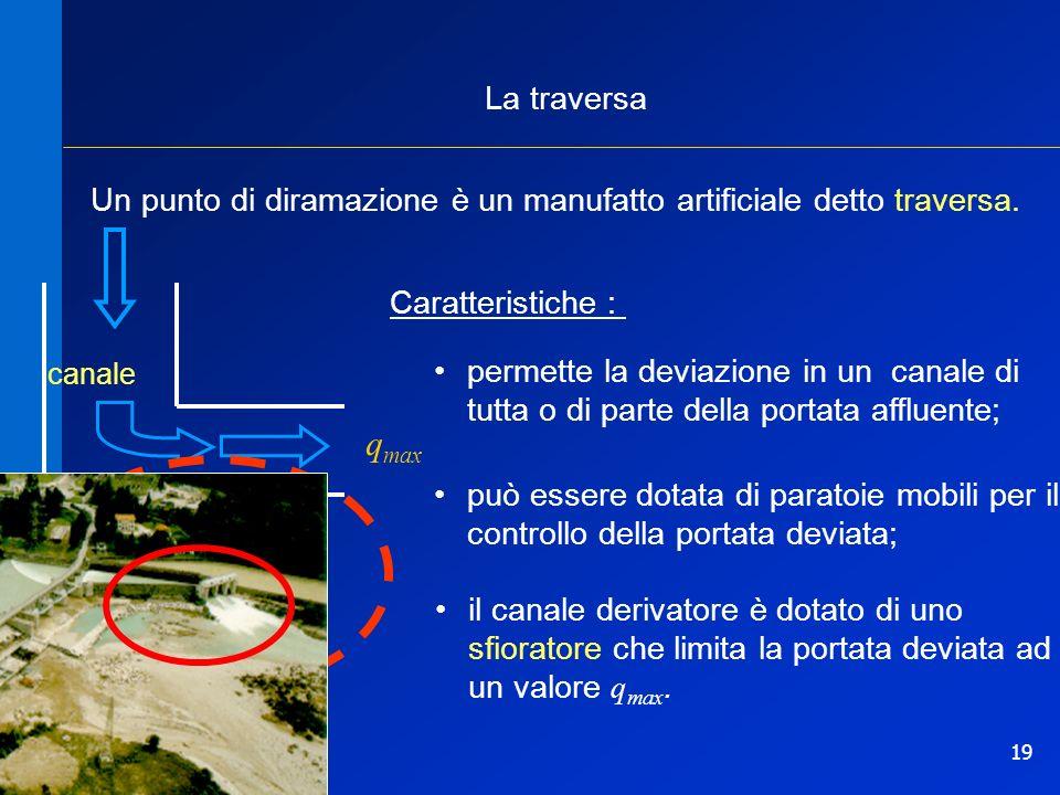 19 q max La traversa Caratteristiche : permette la deviazione in un canale di tutta o di parte della portata affluente; può essere dotata di paratoie