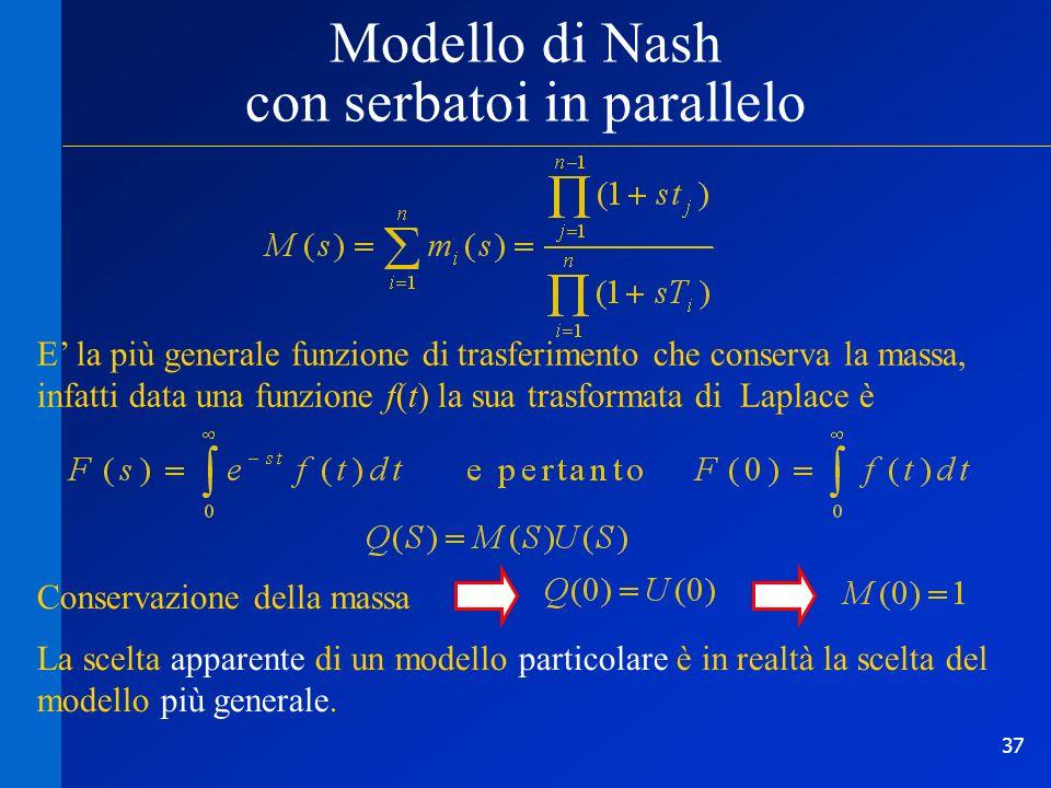 37 Modello di Nash con serbatoi in parallelo E la più generale funzione di trasferimento che conserva la massa, infatti data una funzione f(t) la sua