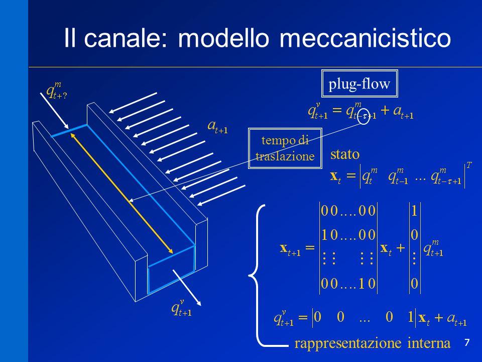 7 Il canale: modello meccanicistico tempo di traslazione stato rappresentazione interna plug-flow