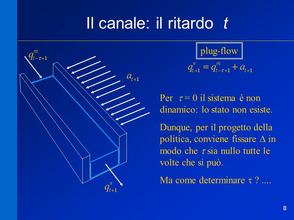 8 Il canale: il ritardo t Per = 0 il sistema è non dinamico: lo stato non esiste. Dunque, per il progetto della politica, conviene fissare in modo che