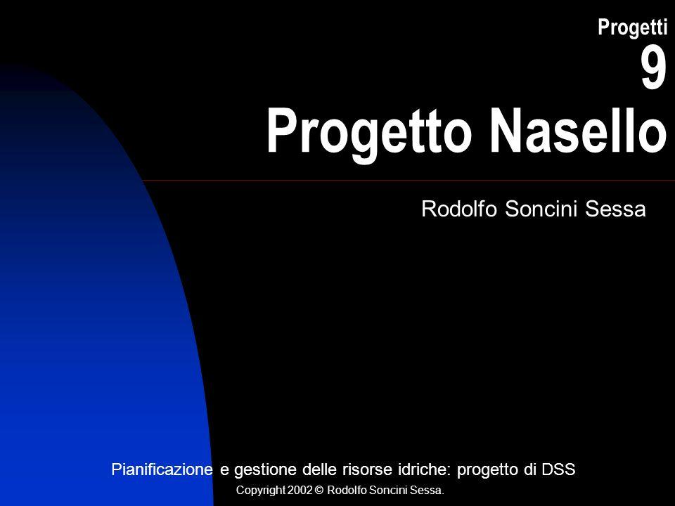 Progetti 9 Progetto Nasello Rodolfo Soncini Sessa Pianificazione e gestione delle risorse idriche: progetto di DSS Copyright 2002 © Rodolfo Soncini Sessa.