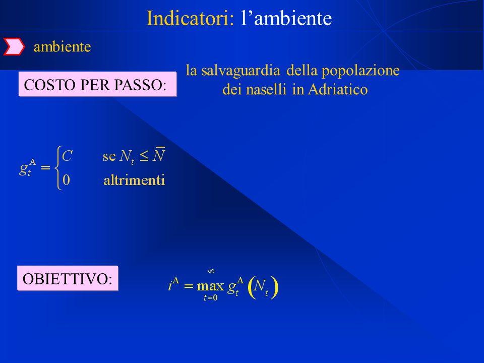 COSTO PER PASSO: Indicatori: lambiente la salvaguardia della popolazione dei naselli in Adriatico ambiente OBIETTIVO: