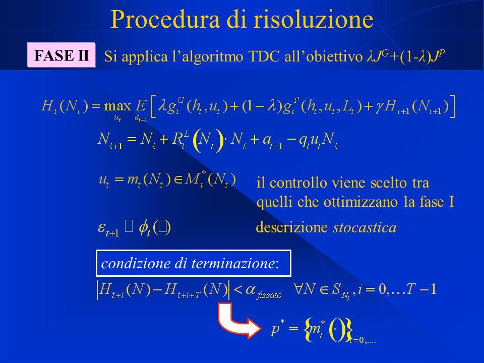 Procedura di risoluzione Si applica lalgoritmo TDC allobiettivo λJ G +(1-λ)J P il controllo viene scelto tra quelli che ottimizzano la fase I descrizione stocastica FASE II condizione di terminazione: