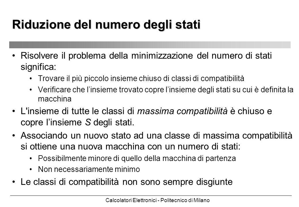 Calcolatori Elettronici - Politecnico di Milano Risolvere il problema della minimizzazione del numero di stati significa: Trovare il più piccolo insie