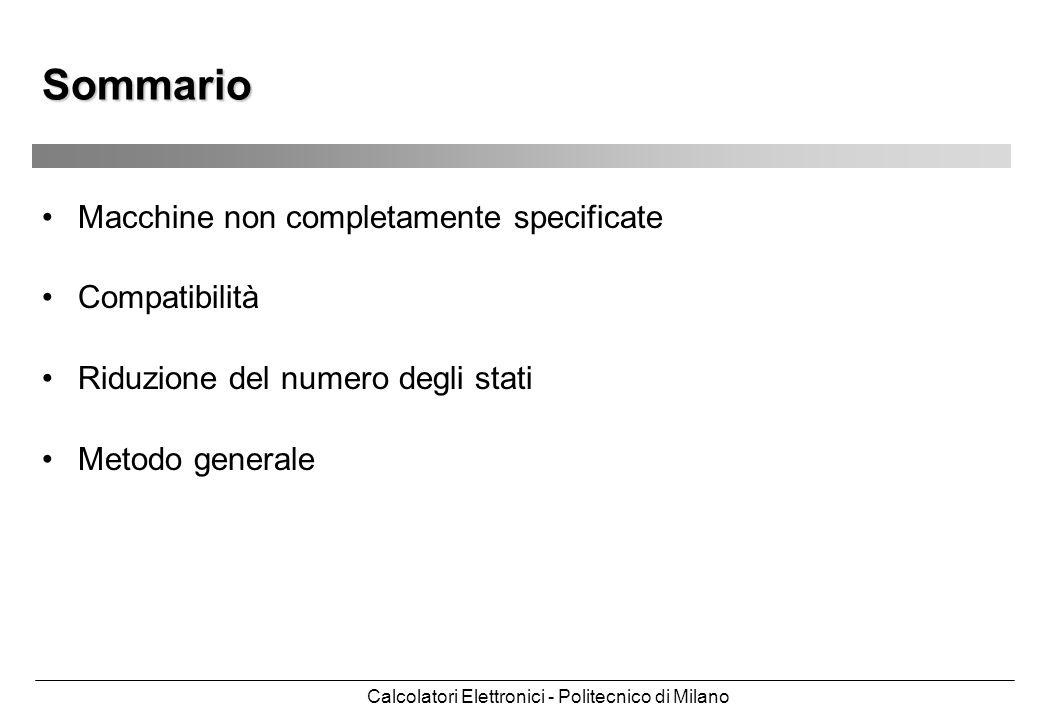 Calcolatori Elettronici - Politecnico di Milano Sommario Macchine non completamente specificate Compatibilità Riduzione del numero degli stati Metodo