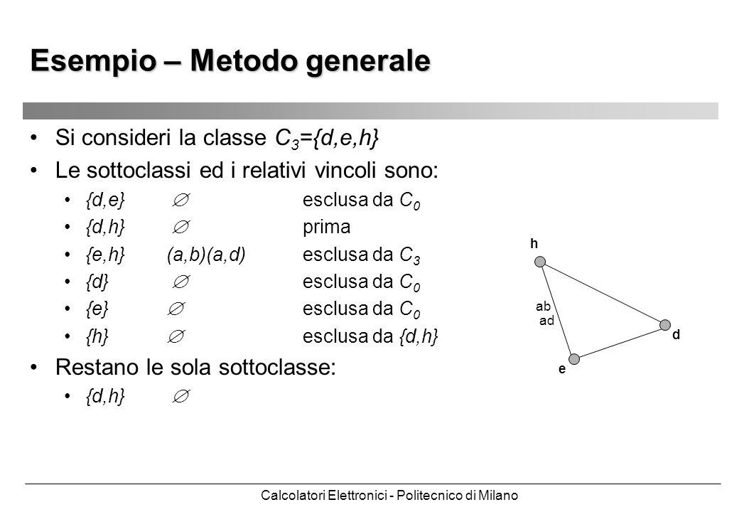 Calcolatori Elettronici - Politecnico di Milano Esempio – Metodo generale Si consideri la classe C 3 ={d,e,h} Le sottoclassi ed i relativi vincoli son