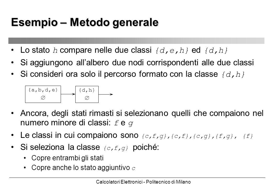 Calcolatori Elettronici - Politecnico di Milano Esempio – Metodo generale Lo stato h compare nelle due classi {d,e,h} ed {d,h} Si aggiungono allalbero