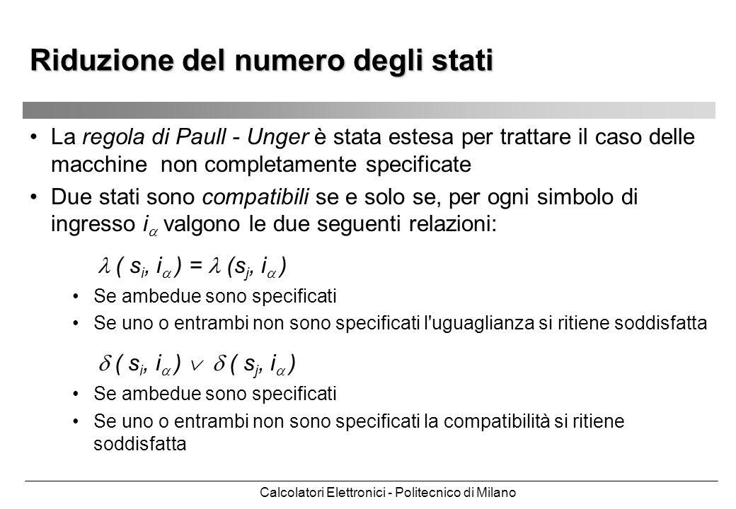 Calcolatori Elettronici - Politecnico di Milano La regola di Paull - Unger è stata estesa per trattare il caso delle macchine non completamente specif